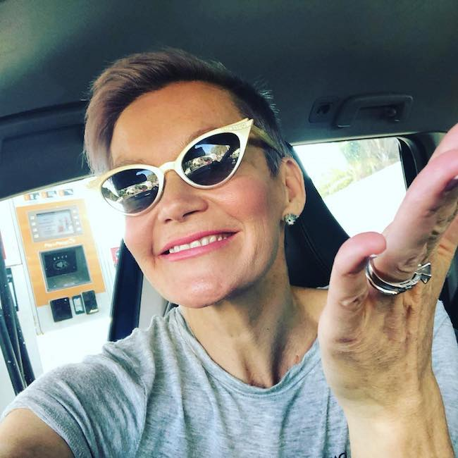 Jessica Rowe in a car selfie in August 2018