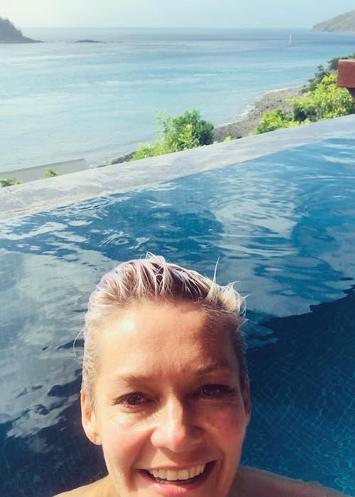 Jessica Rowe spending her 48th birthday at Qualia Resort in June 2018