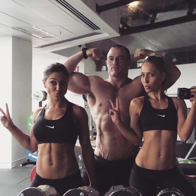 Diana Johnson, Sebastian Oreb, Felicia Oreb (From Left) in a gym picture in July 2018